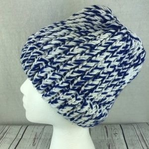 Accessories - Women's homemade blue white winter knit hat
